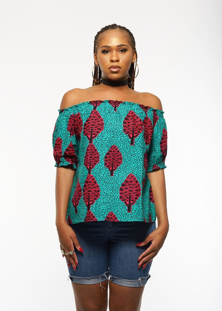 Ola African Print Off the Shoulder Puff Sleeve Top (Turquoise/Raspberry)