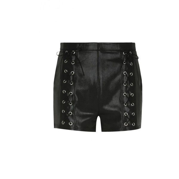 Laced Up Mini Shorts ($59) ❤ liked on Polyvore featuring shorts, highwaist shorts, lace up shorts, eyelet shorts, high waisted hot pants and hot shorts