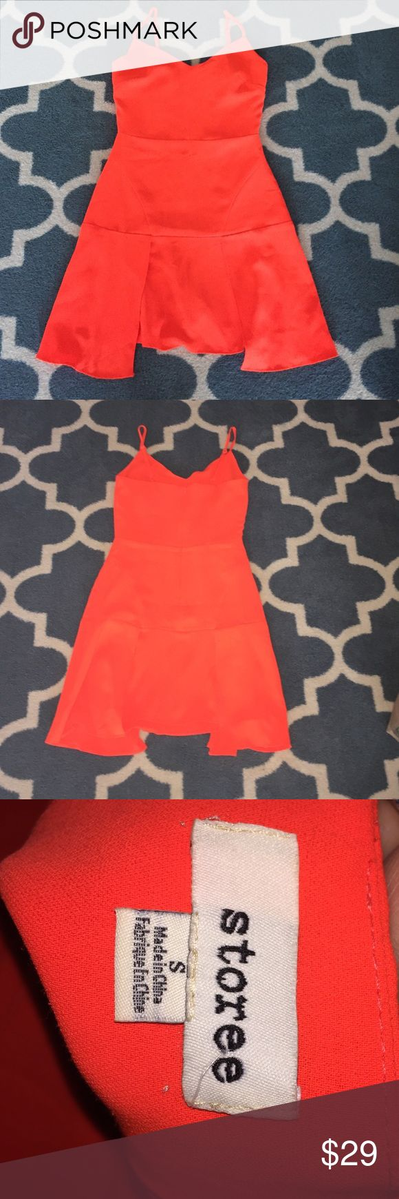 Gorgeous bright orange dress Storee S Adorable dress with spaghetti straps. Stand out or cover with a contrasting cardigan. storee Dresses Mini