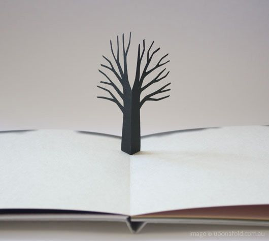 amazing work of art - Little Tree is 'a minimal, poetic and beautifully crafted book on seasons and life cycles. Each turn of the page reveals a story of the life of a tree – through spring, summer, autumn, winter, even day and night. The trees are intricate die-cuts, and various paper textures and colours are used in this pop-up book, including a foil-stamped cover. created by Katsumi Komagata, an award-winning Japanese graphic designer based in Tokyo'. from upon a fold.