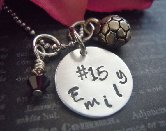 Soccer Necklace-Personalized Necklace-Soccer Ball Charm-Sports Jewlery-Soccer Team-Personalized Jewelry-Hand Stamped-Fun Team Gift-Heart on Etsy, $27.99
