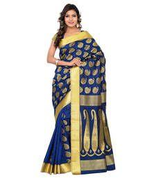 Buy Eid Special Blue art silk printed saree with blouse kanchipuram-silk-saree online