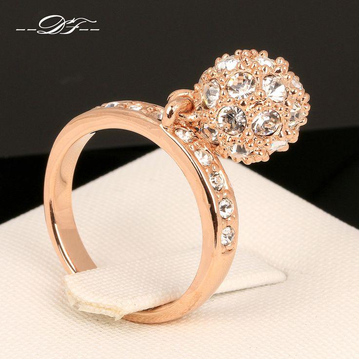 Caliente venta bola de diamantes CZ anillos de dedo del partido 18 K chapado en oro rosa marca moda Punk de la joyería / para mujeres venta al por mayor DFR024 en Anillos de Joyería en AliExpress.com | Alibaba Group