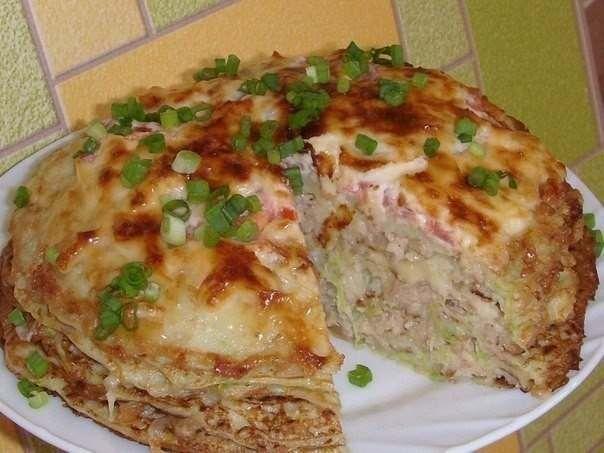 Фото к рецепту: Кабачково-сырный тортик с мясом.