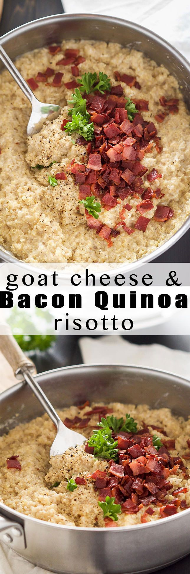 Goat Cheese & Mushroom Quinoa Risotto is a shortcut version of the classic risotto! Creamy goat cheese, bacon and quinoa come together in under 30 minutes and requires minimal hands on time; making this the perfect healthy, side dish!