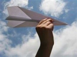paper airplane and four forces of flight lesson