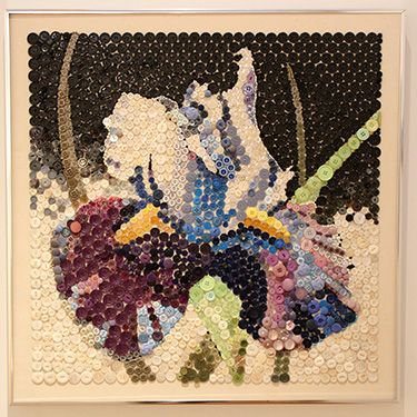 """""""Iris Fantasia"""" (buttons and beads on canvas) by Helene Plank, part of the Mercer County Artists exhibit at the Gallery at Mercer, Feb. 20 to March 23, 2017."""