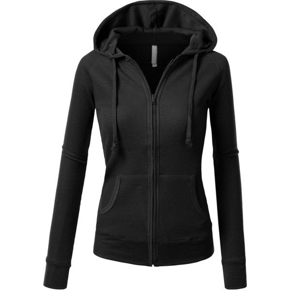 J.TOMSON Womens Casual Thin Thermal Zip-Up Hoodie BLACK S at Amazon...  (€20) ❤ liked on Polyvore featuring tops 8a0a289d7d8