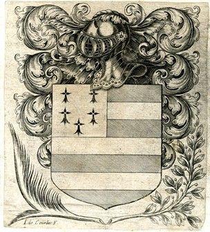 Escudo de armas de Pierre Berger (?), Con rayas de rodamientos escudo y armiño, coronadas por el casco giró a la izquierda y el desarrollo en las hojas de acanto, y flanqueado por hoja de palma de la izquierda y laureles en el grabado de la derecha