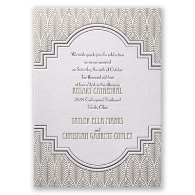 Art Deco Frame I great gatsby letterpress wedding invitation at Invitations by Dawn