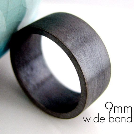 9mm Wedding Band - Black Gold Plated over 925 Silver - Engravable and customizable - For men women - Modern Simple Square Flat Tube Design $85