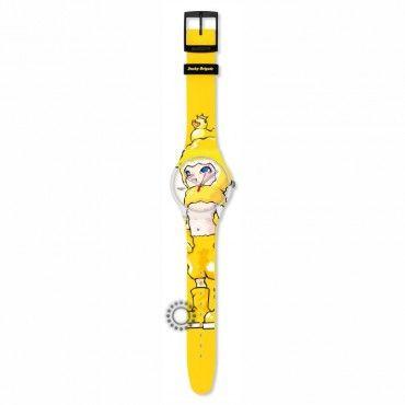 Νεανικό ρολόι Ducky Brigade (Artist : Hiroyuki Matsuura) του ελβετικού οίκου SWATCH από πλαστικό και κίτρινο καουτσούκ με σχέδιο. Αποστολή εντός 24 ωρών #Swatch #ducky #κιτρινο #σιλικονη #ρολοι