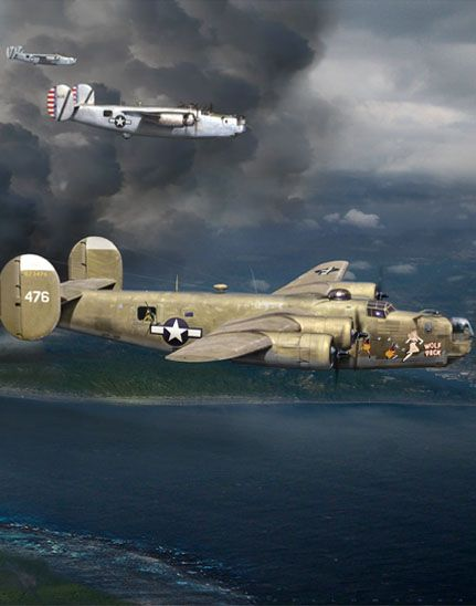 B-24 Crop of Mission to Balikpapan painting