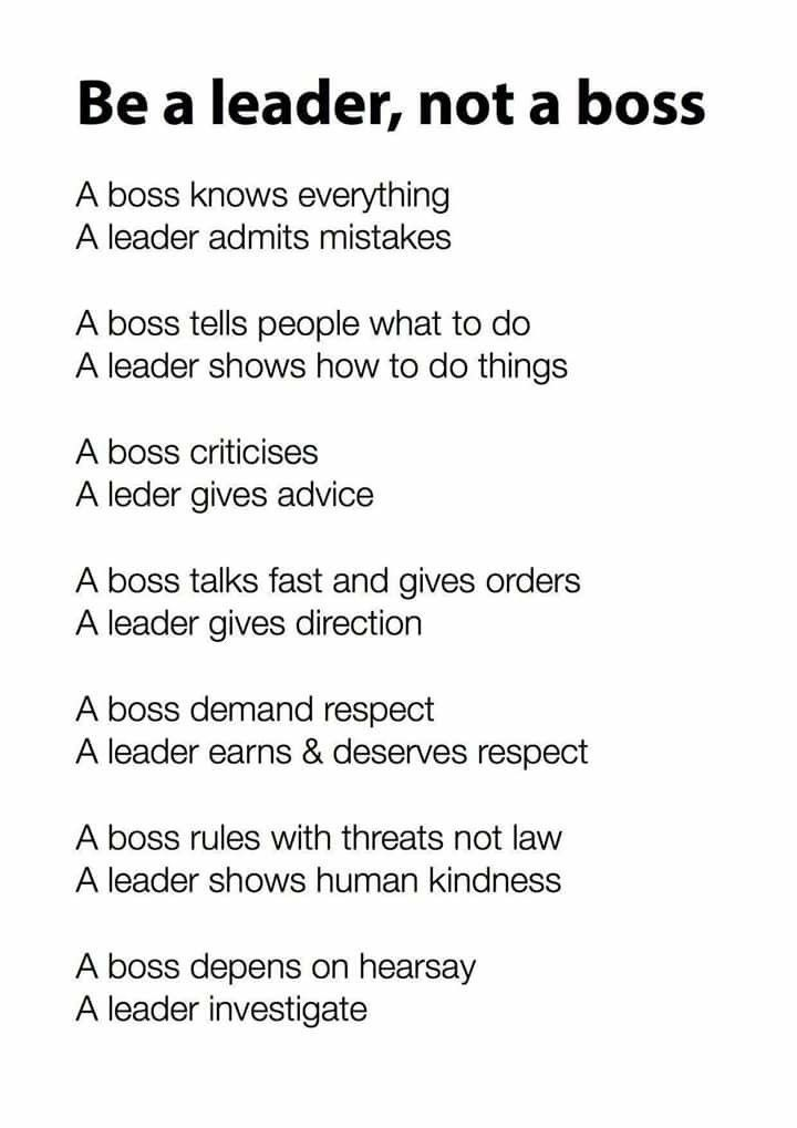 Be A Leader Not A Boss Leader Quotes Leadership Quotes Leadership Inspiration