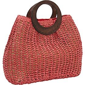 Magid Paper Straw Crochet Bracelet Tote - Red
