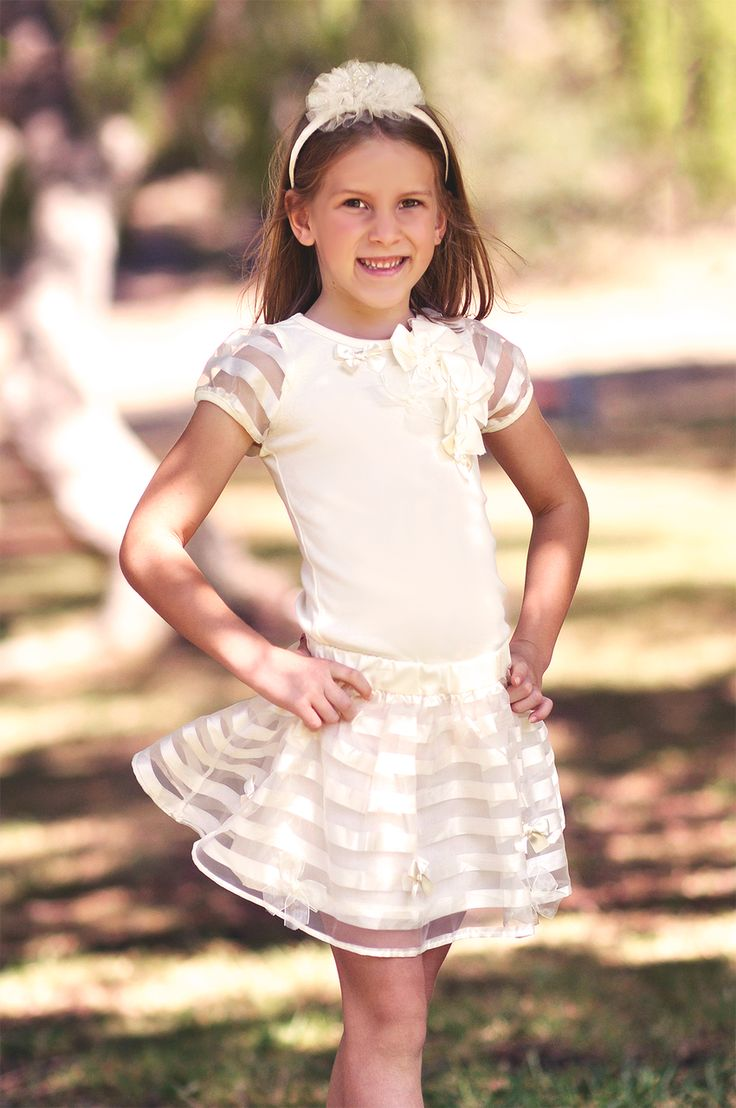 MaeLi Rose White Ribbon Two Piece outfit. #henryandlola