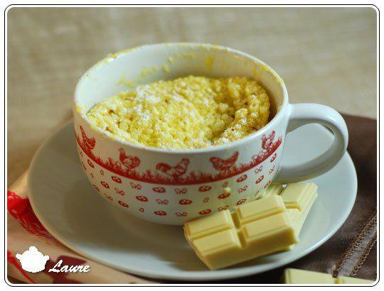 Mug cake chocolat blanc