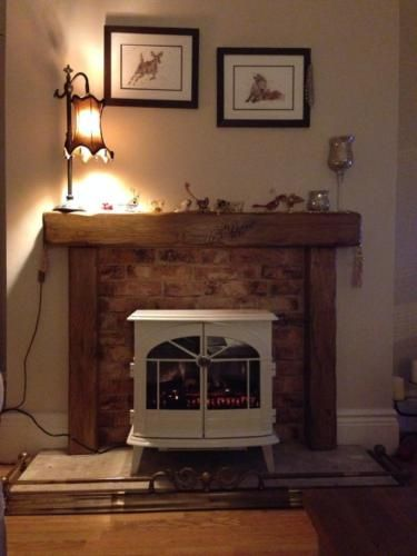 "Oak beam fire surround (6"" x 3"" mantle) + free concealed ..."