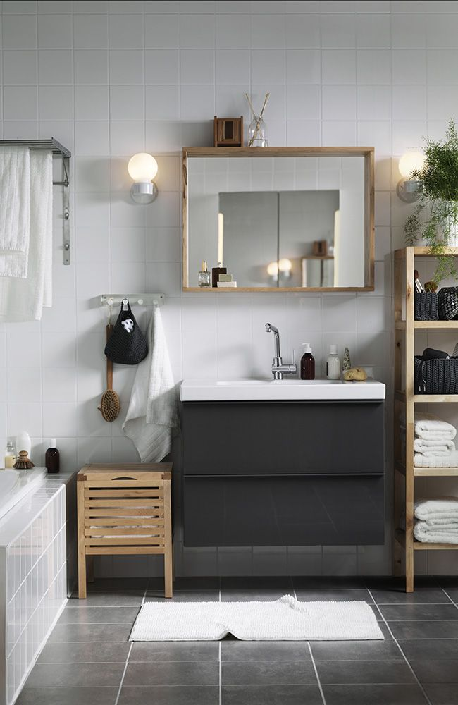 bathroom organized ikea shelf units storage stools and sink cabinets