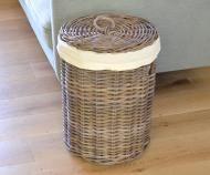 Round Rattan Laundry Basket with Lid - Medium