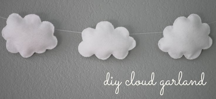 "I thought I would post a little ""tutorial"" about how I made my little cloud garland for Beckham's Room.  It's quite simple and very inexpensive!  I just love the little happiness it added above his..."
