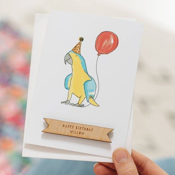 Personalised Parrot Illustrated Birthday Card Happy Birthday Etsy In 2021 Happy Birthday Friend Birthday Cards Happy Birthday Cards