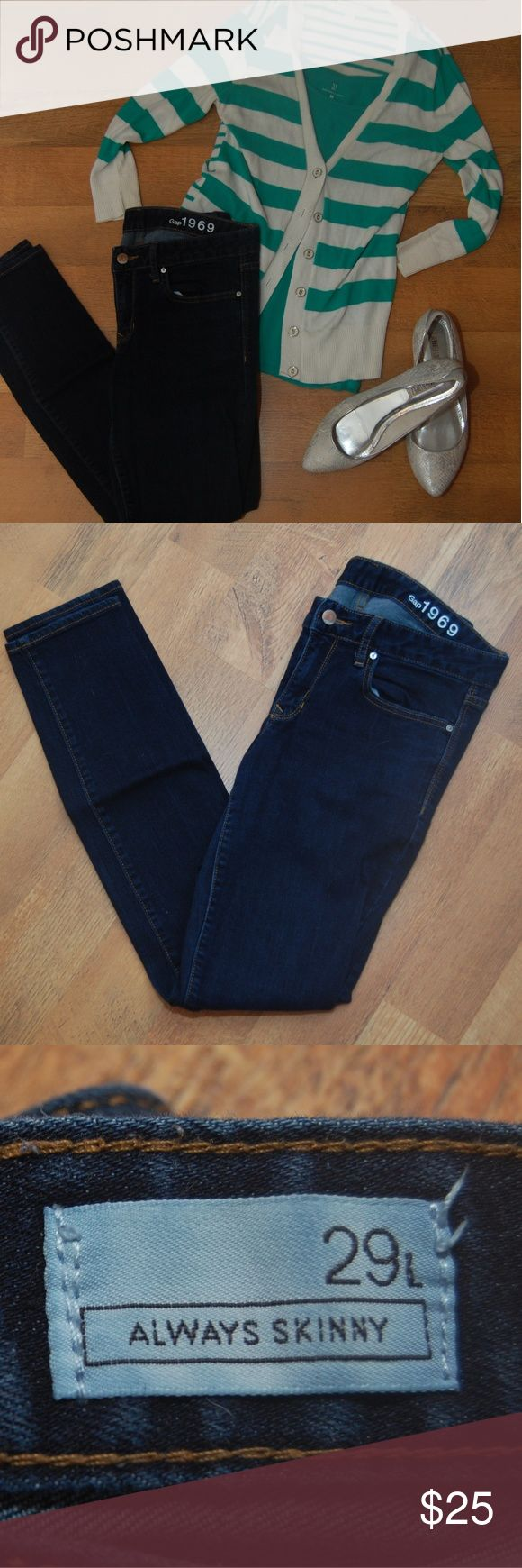 Gap Jeans, Always Skinny, Dark Wash, 29L Great dark wash skinny jeans, easy to dress up or down.  Pictured? items available in closet. GAP Jeans Skinny