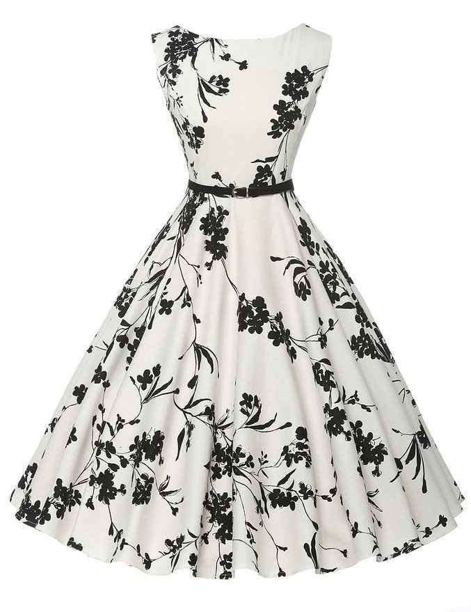 Black and White Floral Vintage Dress | 1950s