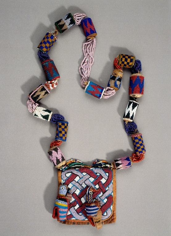 Africa | Beaded necklace from the Yoruba people of Nigeria | Leather, cloth, glass beads, cotton thread