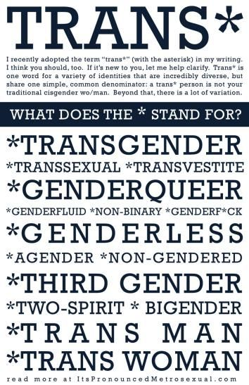 Trans* is an umbrella term that covers a wide variety of gender identities.