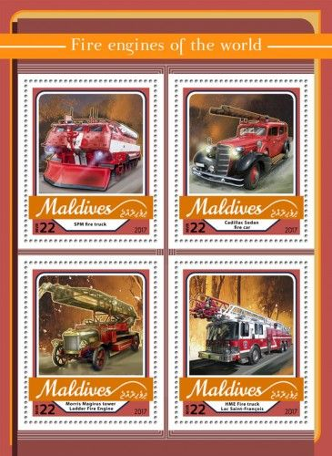 MLD17104a Fire engines (SPM fire truck; Cadillac Sedan fire car; Morris Magirus tower Ladder Fire Engine; HME Fire truck Lac Saint-François)