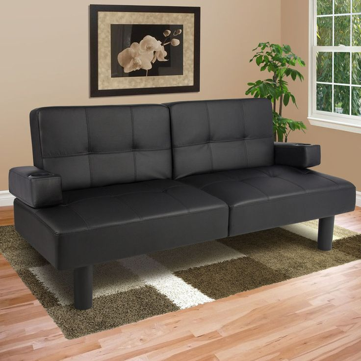 Contemporary Leather Faux Sofa Futon Living Room Furniture Sleeper Couch Tufted  #JustinsDiscountDeals