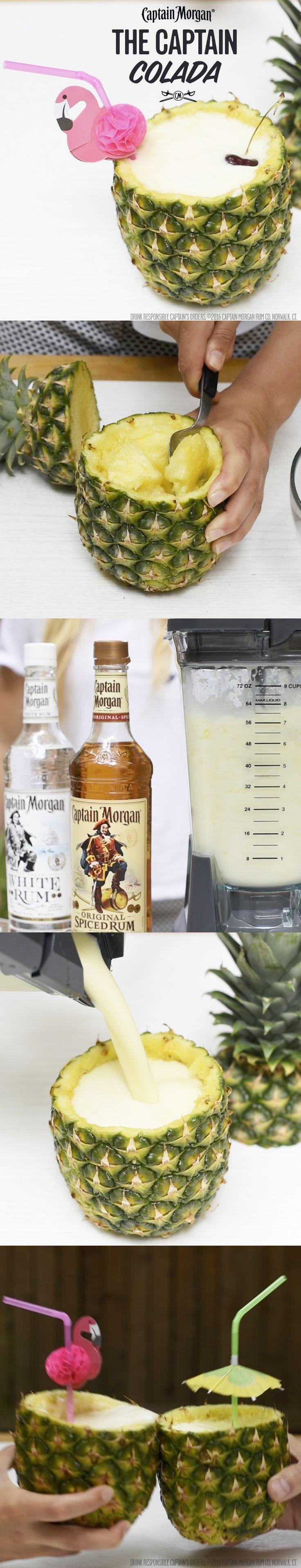 The Captain Colada, goes well with putting on the best BBQ ever. Recipe: 1 oz Captain Morgan Original Spiced Rum 0.5 oz Captain Morgan White Rum 1 oz Pineapple juice 0.5 oz cream of coconut Cherry garnish Get more rum recipes at https://us.captainmorgan.com/rum-cocktails/?utm_source=pinterest&utm_medium=social&utm_term=bbq&utm_content=captain_colada&utm_campaign=recipe