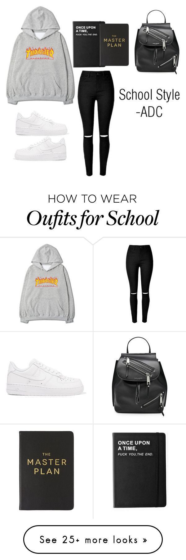 """""""School Style"""" by anatiller on Polyvore featuring NIKE, Killstar, Eccolo and Marc Jacobs"""