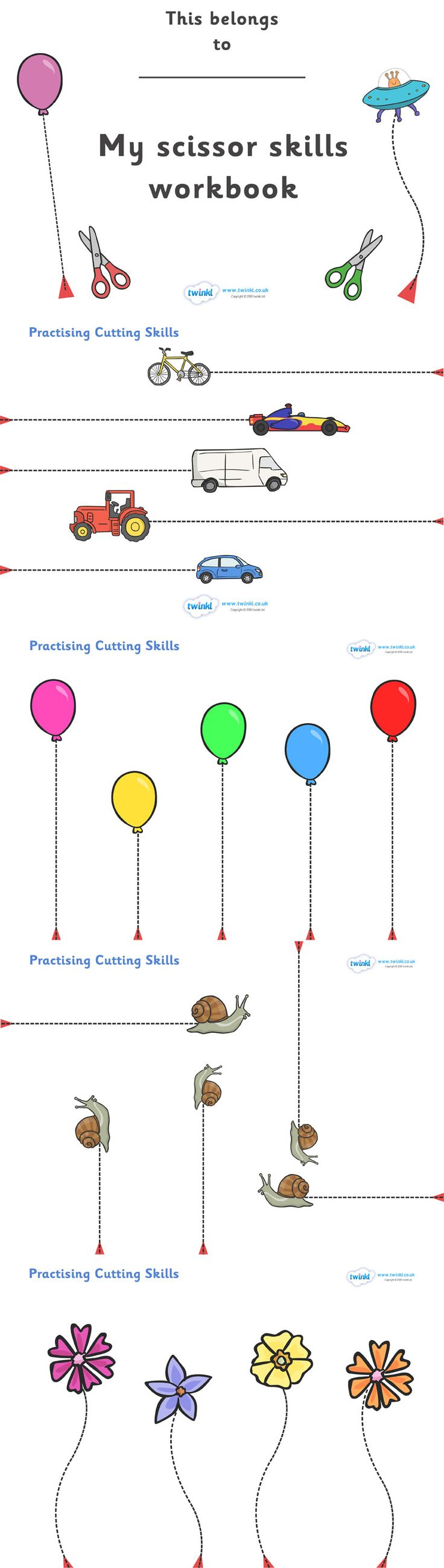 Twinkl Resources >> Scissor Cutting Skills Workbook  >> Thousands of printable primary teaching resources for EYFS, KS1, KS2 and beyond! education, home school, free, scissors, scissor cutting, learn to cut,