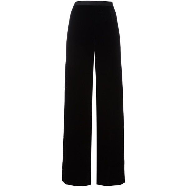 T by Alexander Wang Wide Leg Velvet Trousers ($415) ❤ liked on Polyvore featuring pants, black, high-waisted wide leg pants, high-waist trousers, palazzo pants, wide leg trousers and high waisted trousers