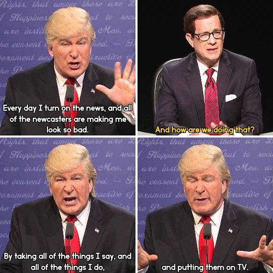 "When Alec Baldwin's Trump accused the media of rigging the election. | 26 Times ""SNL"" Made This Election Slightly More Bearable"