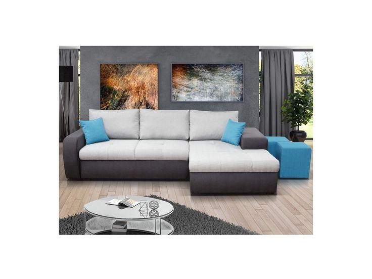 Canapé d'angle convertible en tissu SAGAR - Bicolore gris/noir, coussins turquoises - Angle droit