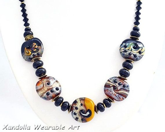 Pilbara Series Glass Necklace with Antique Pewter, Black Glass Beads and Swarovski Crystals by Su Bishop of Xandolla Wearable Art