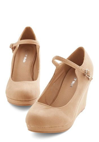 Who Neutral? Wedge in Tan - Mid, Faux Leather, Tan, Solid, Work, Minimal, Platform, Wedge, Mary Jane, Variation, Basic