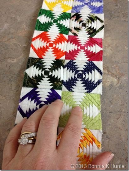 2 inch Paper Pieced Pineapple blocks--Completely AMAZING! Shown on Bonnie Hunter's Quiltville's Quips and Snips