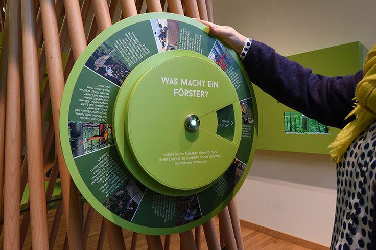 Interaktives Exponat / Hands-On Entdeckerrad im Steigerwald-Zentrum. Konzipiert und realisiert von Impuls-Design.
