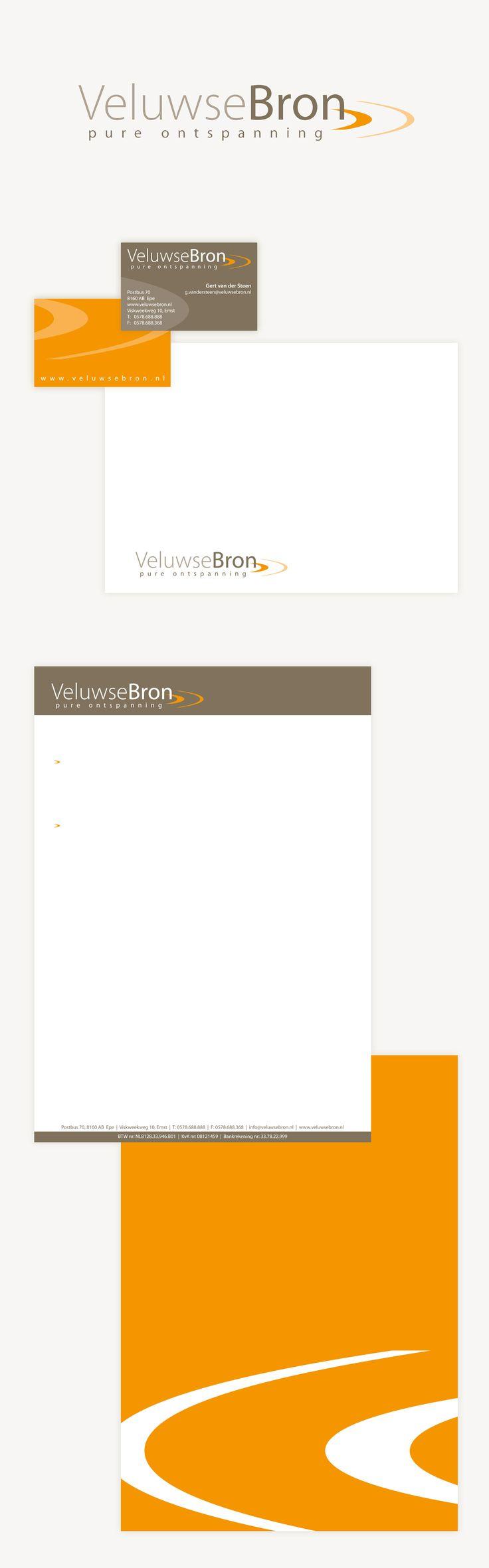 Logo en huisstijlontwerp voor De Veluwse Bron, het grootste sauna- en welnesscentrum van Nederland.