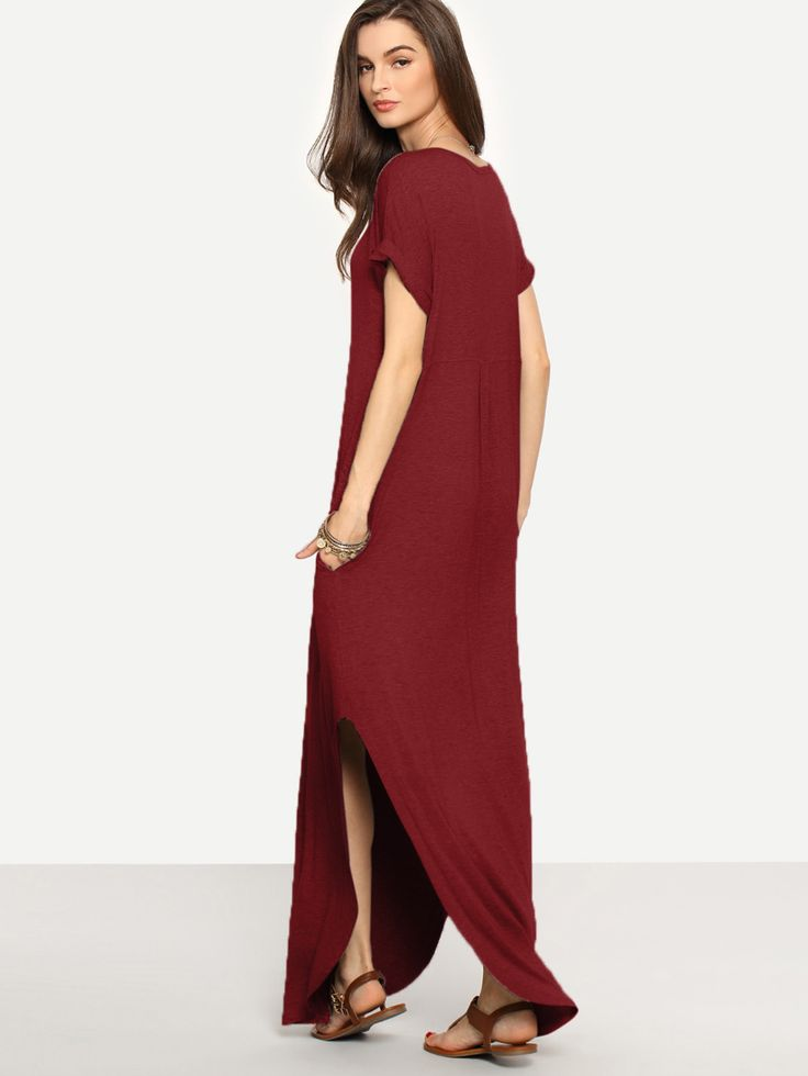 Shop Rolled-cuff Pockets Side Split Dress online. SheIn offers Rolled-cuff Pockets Side Split Dress & more to fit your fashionable needs.
