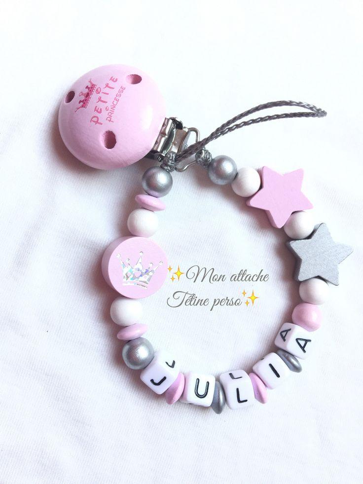 attache tétine personnalisée perles en bois ~ modèle Petite Princesse : Puériculture par mon-attache-tetine-perso