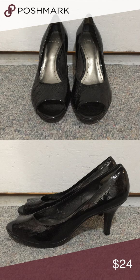Peep toe pumps. Black peep toe pumps. Alex Marie Shoes Heels