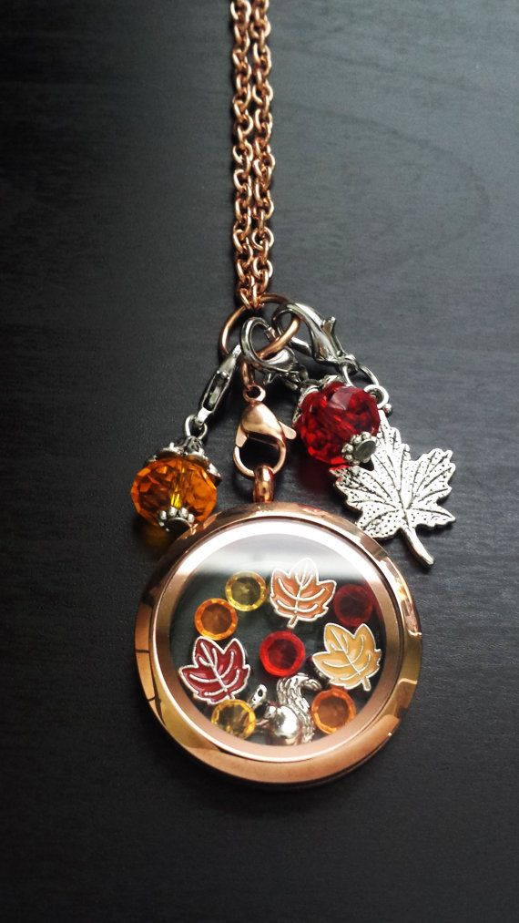 Fall Floating Charm Locket Necklace by PrettyPalazzo www.etsy/shop/prettypalazzo $48