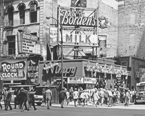 """On the corner of Madison and Dearborn Streets, the marquee of the legendary Blue Note jazz club bears the message """"The Master Duke Ellington and his Famous Band,"""" c. 1958. Photograph by J. Sherwin Murphy, ICHi-27842  Purchase a copy of this..."""