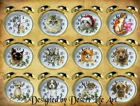 TELL TIME  Cats & Dogs  Stickers Scrapbooks by DesertLifeArt, $4.60