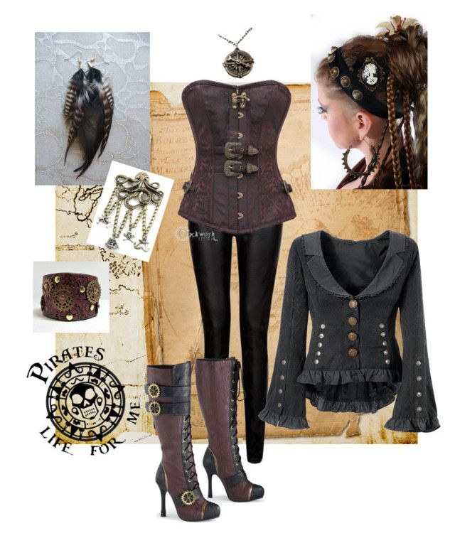 """Steampunk pirate costume."" by dressthetiger ❤ liked on Polyvore featuring Pointer, women's clothing, women, female, woman, misses and juniors"